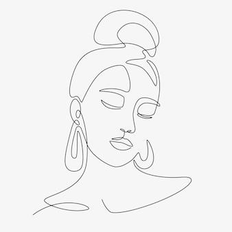 Женщина минимальная рисованная иллюстрация. рисунок в стиле одной линии.