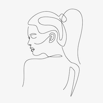 여자 최소한의 손으로 그린 그림입니다. 단선 스타일 그리기.