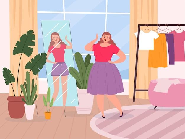 여자 거울. 거울 앞에 서있는 특대 아가씨 피트니스 행복 소녀를 본다.
