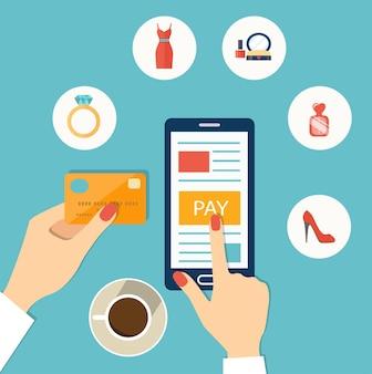 Woman mobile online shopping. flat vector illustration