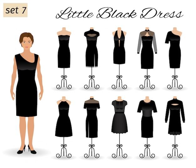 Женщина модель персонаж одет в маленькое черное платье. набор коктейльных платьев на манекенах.