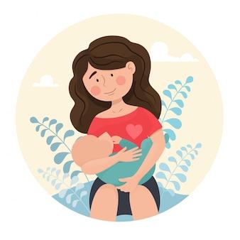 Женщина мама кормит ребенка грудью. аватар в мультяшном плоском стиле. день матери.