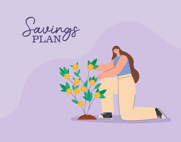 Женщина, денежное дерево и план сбережений надписи дизайн иллюстрации