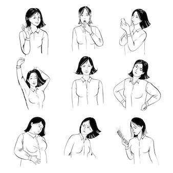 여자 기분을 설정합니다. 다양한 분위기에서 여자의 그림을 스케치하십시오.