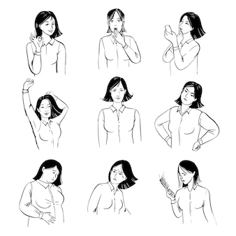 Woman moods set. sketch illustration of woman in various moods.