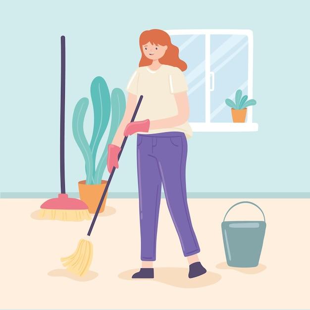 Женщина, вытирающая дома