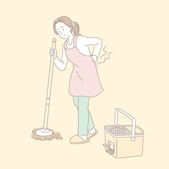 여자는 바닥을 청소하고 선 스타일 일러스트에서 허리 통증으로 고통
