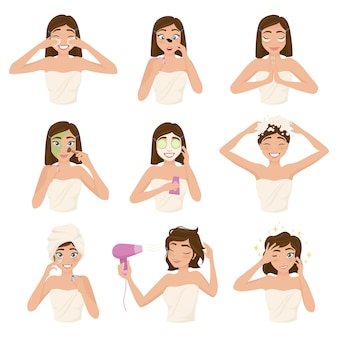 Woman morning routine icon set