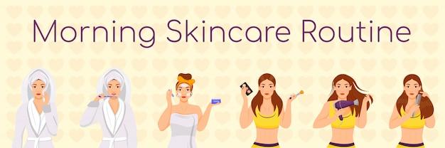 Woman morning skincare routine