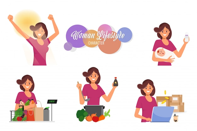 Woman in mother lifestyle daily routine housewife character set.