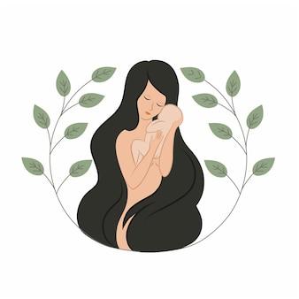 長い髪の女性の母親は彼女の腕に小さな赤ちゃんを抱きます出産の母性と新生児