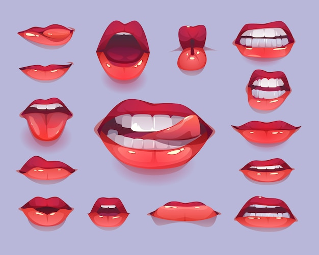 Woman mouth icon set. red sexy lips expressing emotions