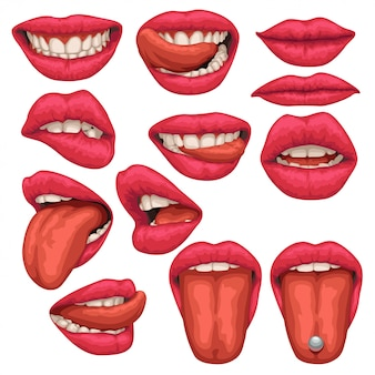 Woman mouth set isolated