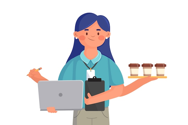Woman multitasking internship job concept