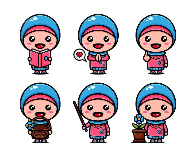 Woman muslim with cute expression. cute arabic cartoon set
