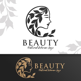 女性の自然の美しさのロゴのテンプレート