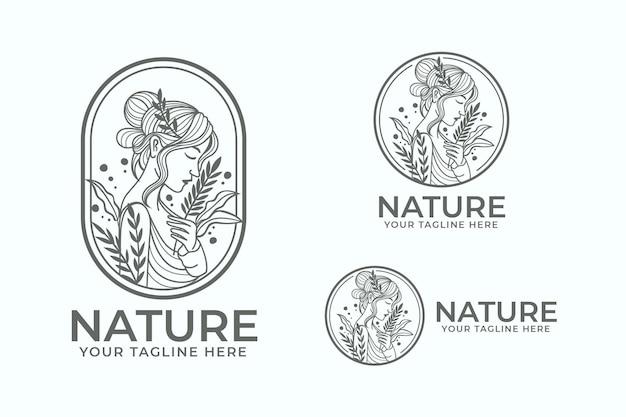 Woman nature logo template