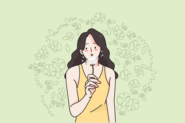 Woman and nature on summer concept