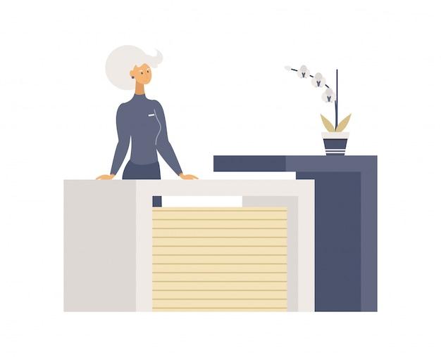 Woman near registration table flat vector illustrations.