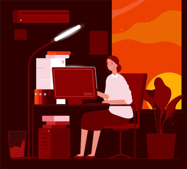 Woman night office. business female characters late at work hard work in piles of paper documents  concept. illustration woman exhausted, programmer businesswoman overtime