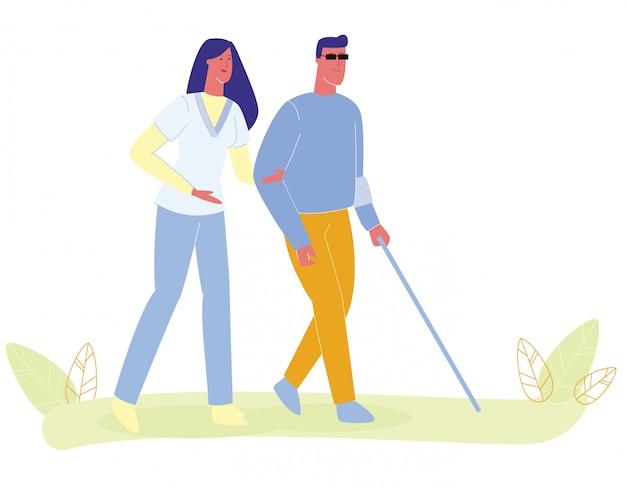 Woman nurse assisting blind man walk with cane