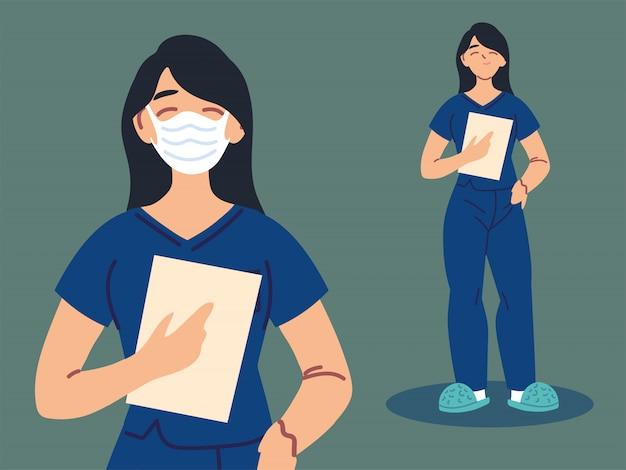 Женщина-медсестра, используя маску для лица и униформу