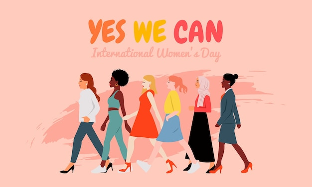 異なる人種の女性が一緒に歩くコンセプト。フェミニズム運動。国際女性デーのバナーカード。平らな