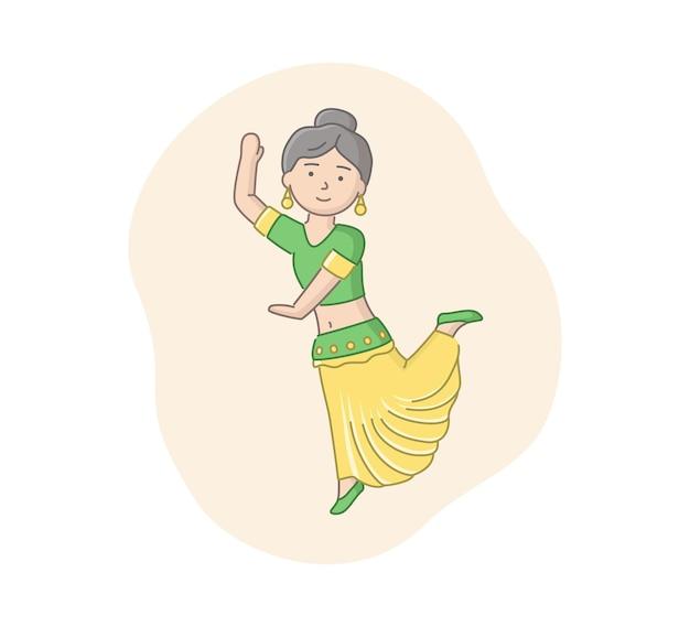 伝統的な緑と黄色の衣装を着て踊るインドの女性。音楽に移動する女性のインドのダンサーのキャラクター。線形オブジェクト。アウトラインとカラフルなベクトルイラスト。