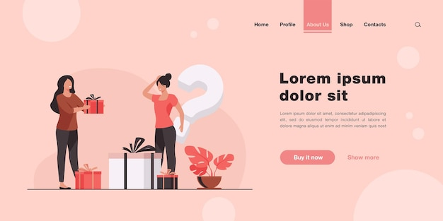 Woman offering presents to woman in shop. landing page in flat style