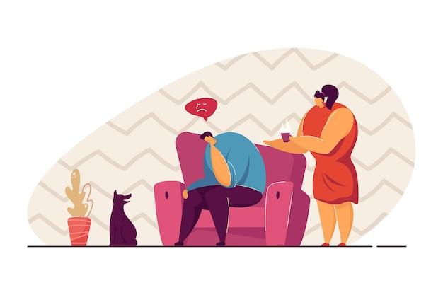우울한 남자에게 차를 제공하는 여자. 남자 친구나 남편을 격려하려고 하는 여성 만화 캐릭터. 웹 사이트 디자인 또는 방문 페이지에 대한 관리 개념.
