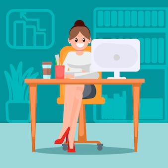 Woman in the office at the table