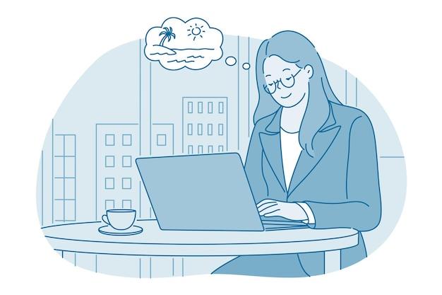 Женщина офисный работник мультипликационный персонаж сидит за ноутбуком работает