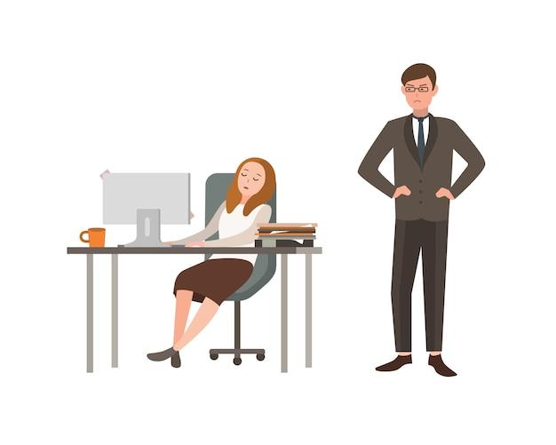 여자 회사원은 컴퓨터 책상에 앉아 잔다. 그의 상사는 화가 나서 그를 바라본다. 직장에서의 피로의 개념. 만화 그림