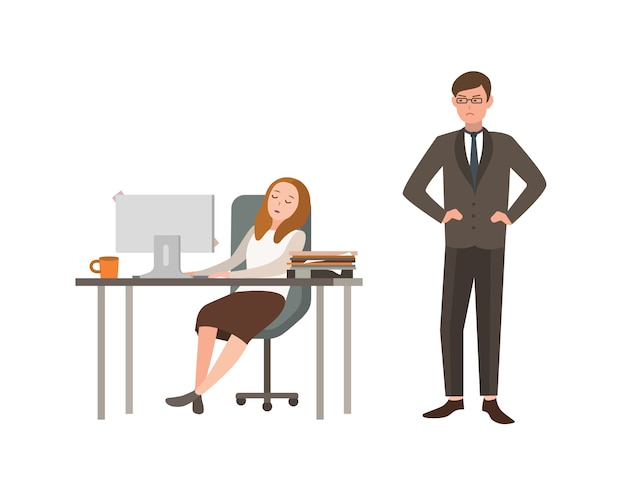 Woman office worker sits at desk with computer and sleeps, his boss angrily looks at him. concept of fatigue at work. cartoon illustration