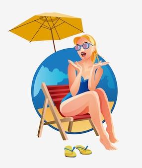 ビーチでビーチチェアの女性。サングラスをかけた金髪の女性は、感情的に驚いてポーズをとっています。