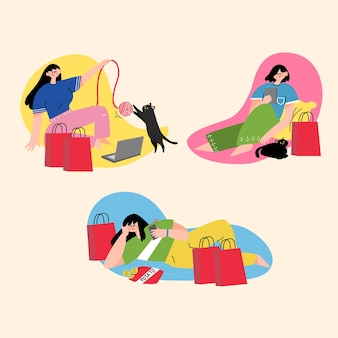 Женщина на черной пятнице продажи моды характер каракули иллюстрации
