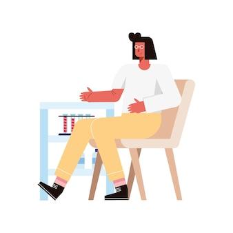 Женщина на стуле, сдавая трубки с кровью на белом фоне