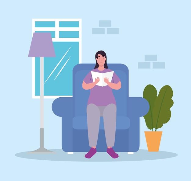 Женщина на стуле, читая книгу дома, дизайн деятельности и отдыха