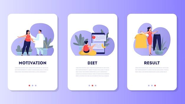 Женщина на диете. идея здорового питания и еды
