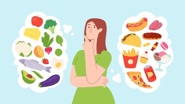음식 다이어트에 여자입니다. 건강한 제품과 건강에 해로운 제품의 균형. 캐릭터는 패스트푸드와 야채 중에서 선택합니다. 건강 라이프 스타일 벡터 개념입니다. 건강하고 건강에 해로운 식단, 캐릭터 선택 그림