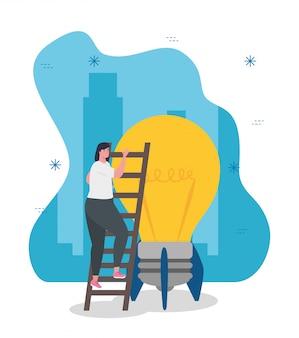 電球ロケットベクターデザインを開始と梯子の上の女性