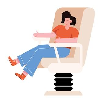 Женщина на медицинском кресле на белом фоне