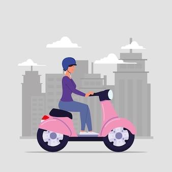헬멧 오토바이에 여자
