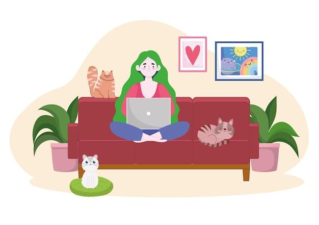 ノートパソコンと猫のホームオフィスのイラストで作業ソファの上の女性