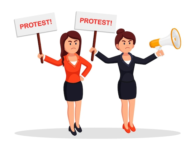파업에 여자입니다. 플래 카드, 확성기와 시위대의 군중입니다. 페미니즘. 프리미엄 벡터