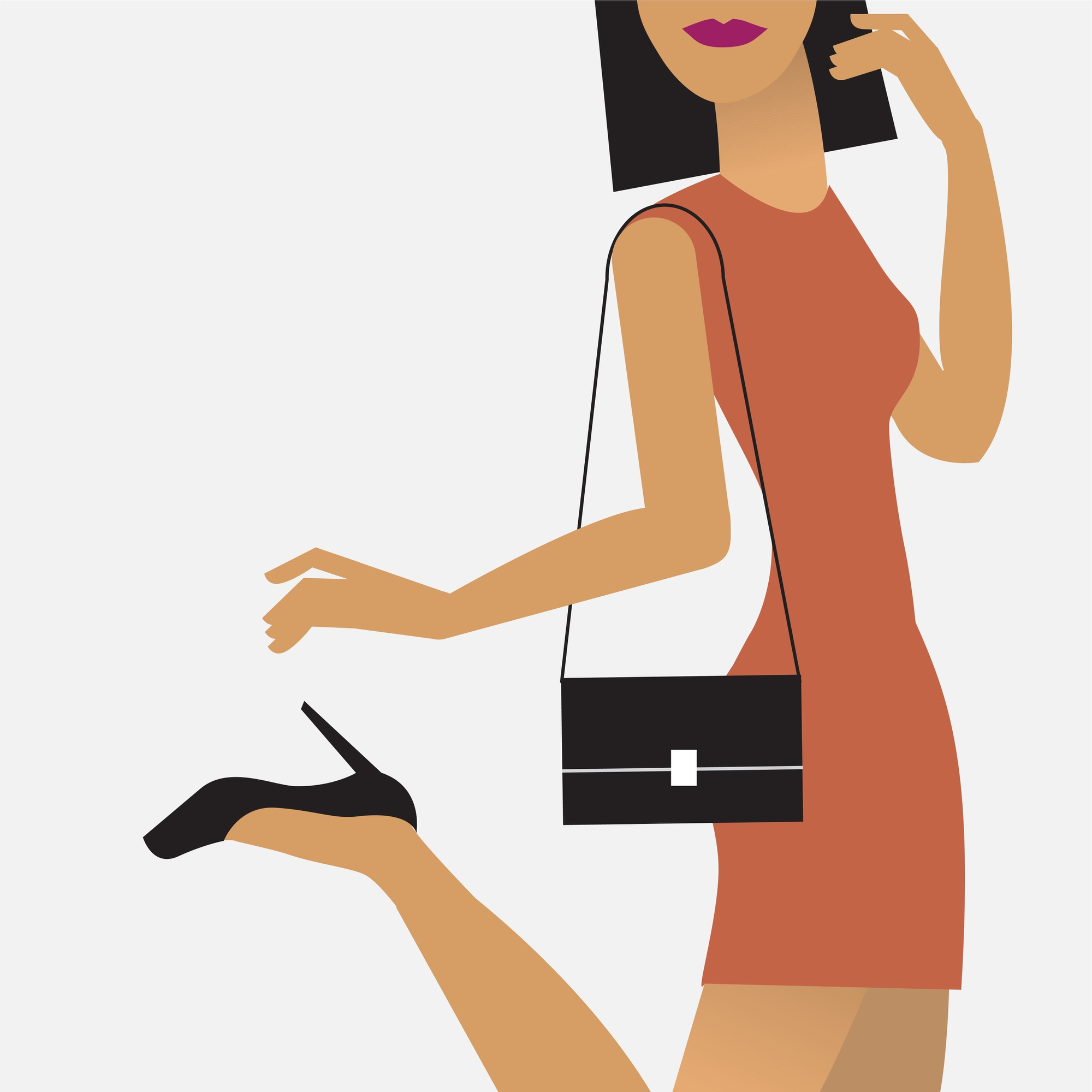 Woman on the go illustration
