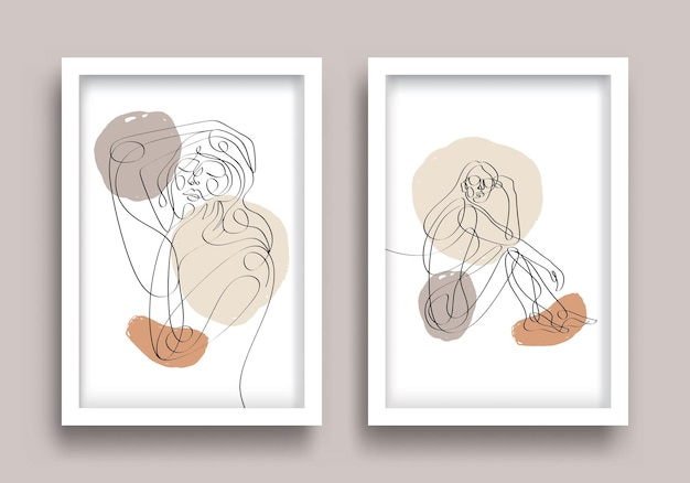 Woman one line drawing poster set