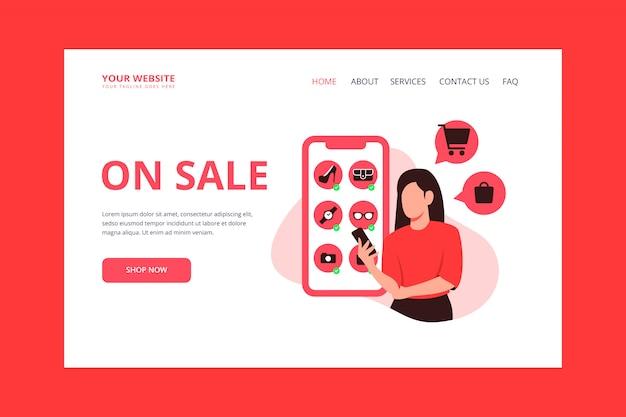 Woman online shopping landing page
