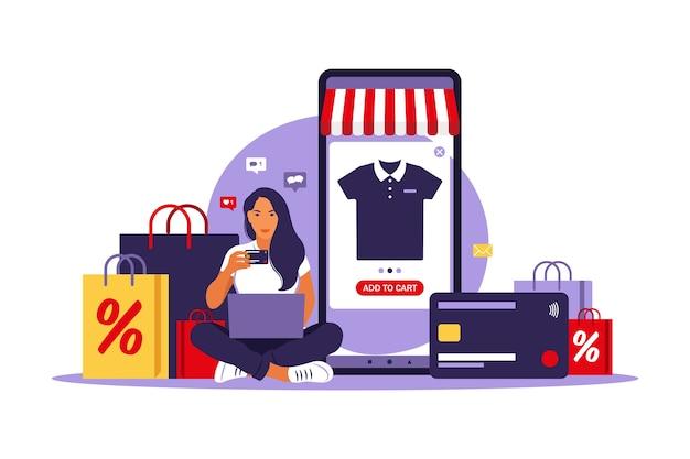 女性のオンラインショッピングクレジットカードで支払うセール、イラストフラットスタイル