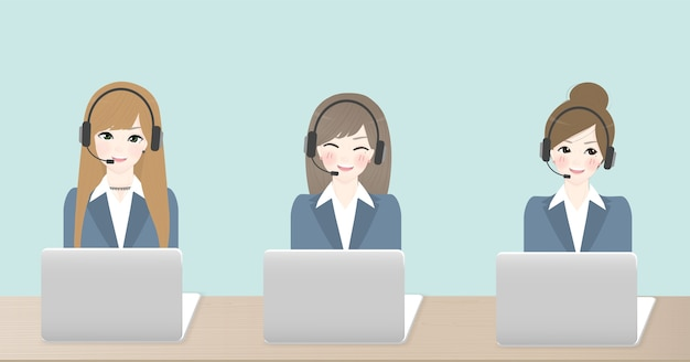 Woman operator of call center office working in headphones